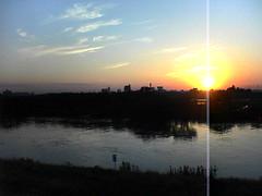 江戸川と夕日