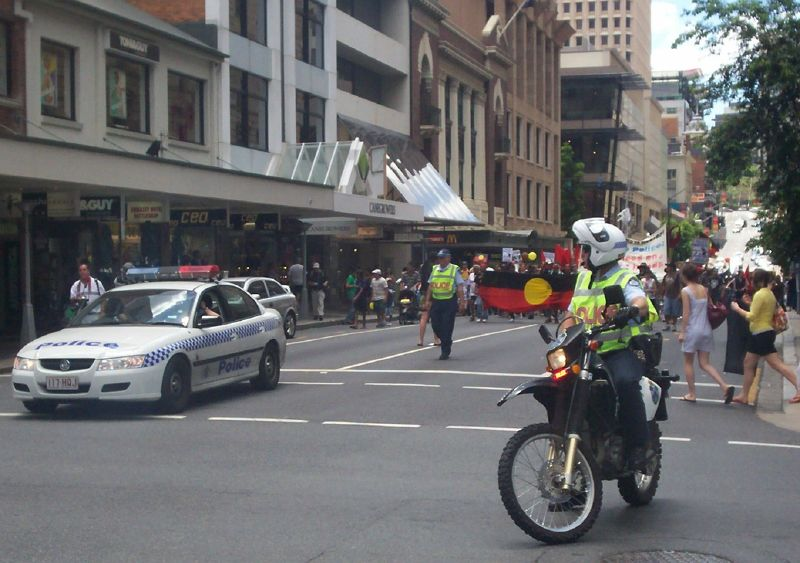 Police prepare to block Edward St and Elizabeth St interection - Justice for Mulrunji Rally at Queens Park and March through Brisbane City, Australia, November 18 2006