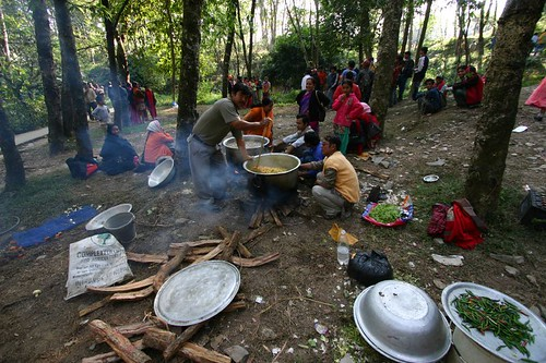 Nepalis enjoying a Saturday picnic...Mahendra Cave area, Pokhara.
