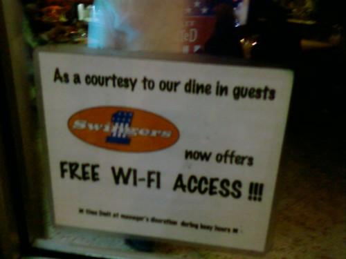 Swingers has Wi Fi