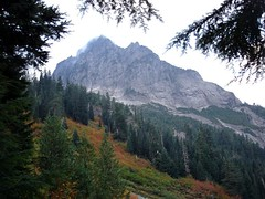 A look at Sperry Peak from lower Wirtz Basin, before the fog rolled in.