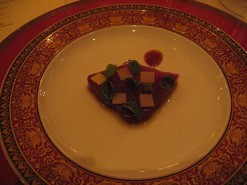 IdeasinFood - Tuna w/ Comte, Red Ribbon Sorrel, & Onion Syrup