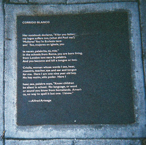 Alfred Arteaga's Poetry Plaque: