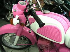 pink kawasaki motorcycle