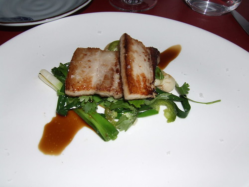 Degustation (New York) - Crispy Pork Belly w/ Grilled Scallions, Mushrooms, Pickled Jalepeno, & Cilantro