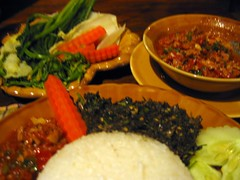 Dinner - Rice, fish laap, and pork jeow chili paste - Boat Landing Restaurant - Luang Namtha