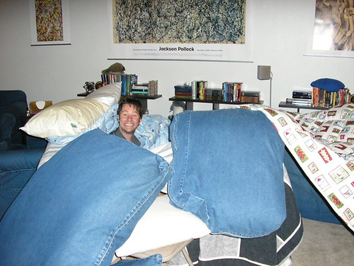 Adam shows off the pillow fort's skylight