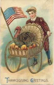 Thanksgiving Postcard 1912ish Patriotic