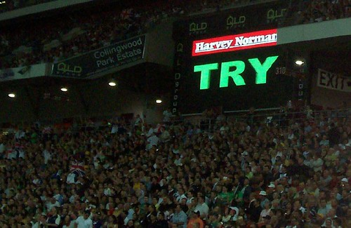 Video Referee confirms Mark Gasnier's try - Kangaroos v British Lions Rugby League Test Match - Lang Park (Suncorp Stadium), Brisbane, Australia, November 18th 2006