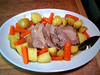 braised pork with laurel served with carrots & potatoes with bay