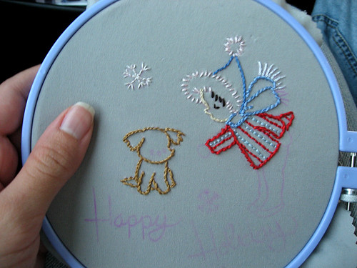 embroidery in the car