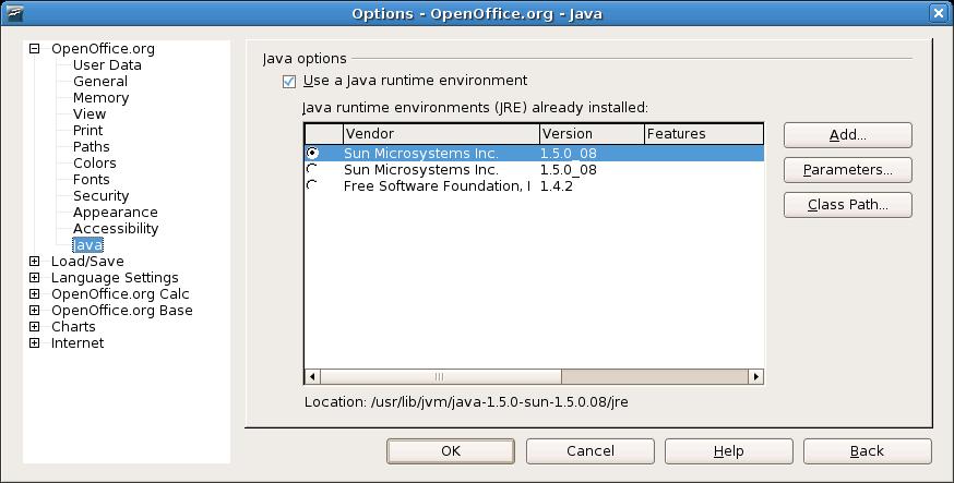 jre per openoffice