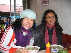 Warm pho, cold morning, big smiles