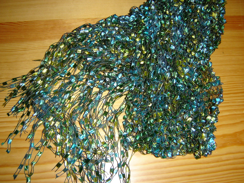 Green/blue ladder scarf