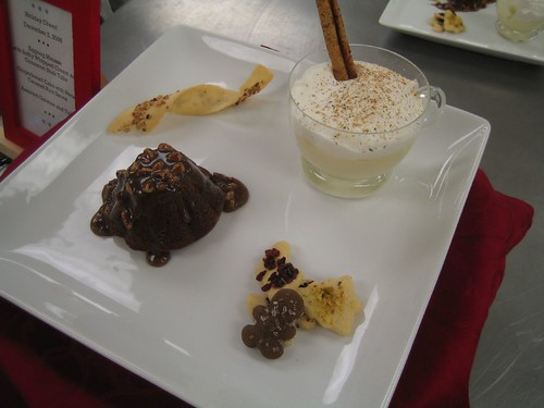 Eggnog Mousse and Gingerbread Cake with Pecan Caramel Rum Sauce