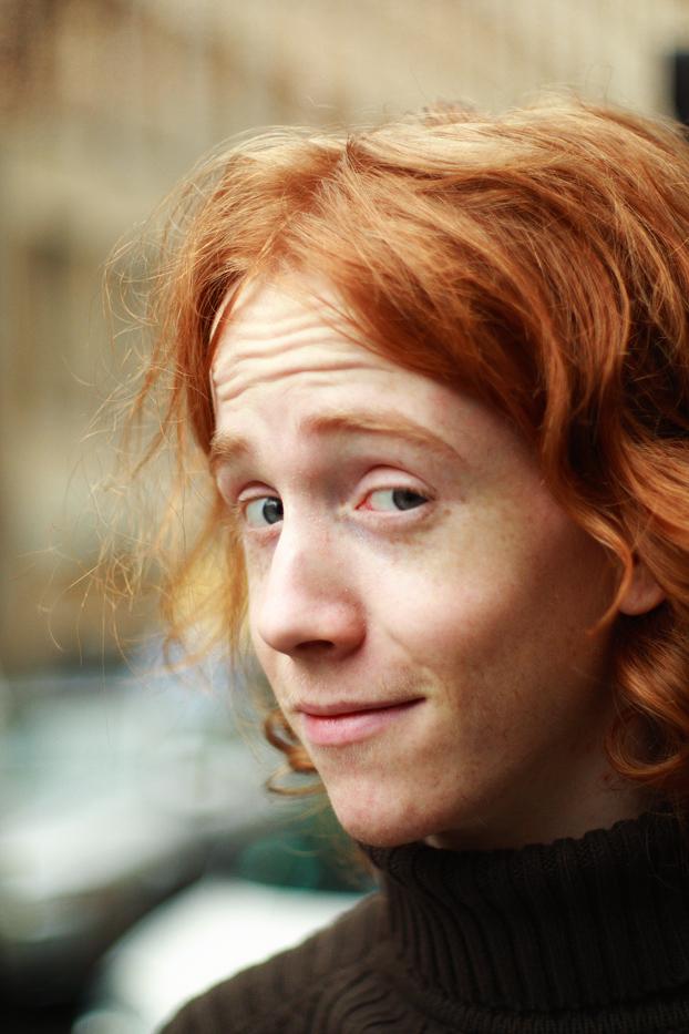 redhead on a grray day