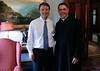 Sen. John Edwards and Saint Anselm College President Fr. Jonathan DeFelice, O.S.B.