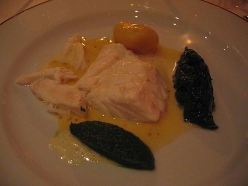 L'Arpege - Turbot of Mustard Sauce, Smoked Potato, Spinach & Broccoli