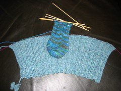 Durrow Front and Second Wyvern Sock WIPs