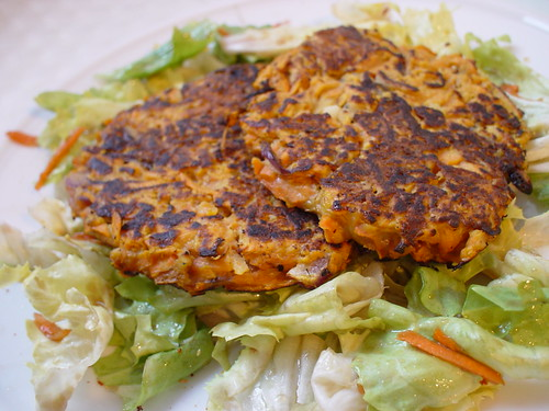 sweet potato tortilla served on a bed of salad
