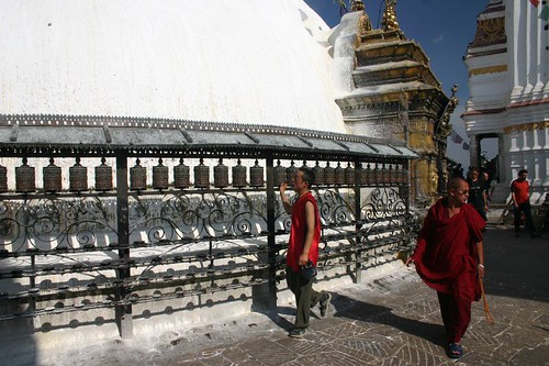 Monks turning the prayer wheels at Swayambunath, Kathmandu
