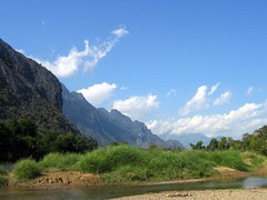 Limestone karst by the river - Vang Vieng
