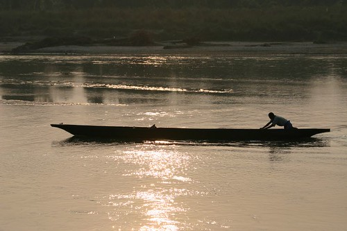 Wooden canoe on the Rupti River - Sauraha, Nepal