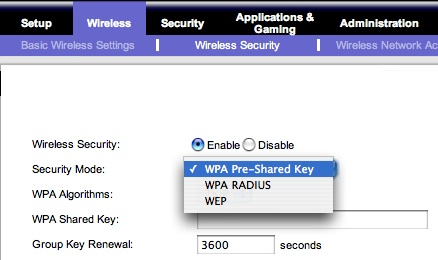 Options for wireless security on my Linksys router