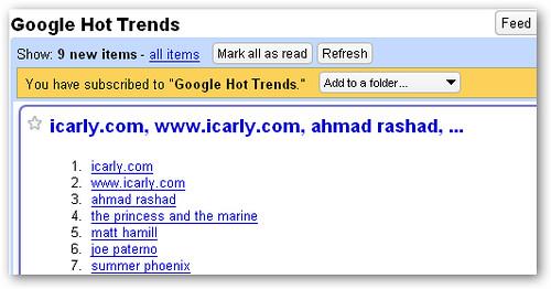 google hot trends rss