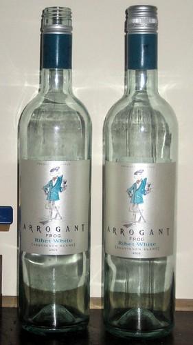 Arrogant Frog sauvignon blanc bottles