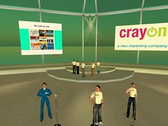 photo from crayon launch in Second Life showing speakers, <a href=