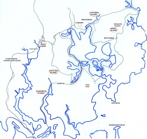 Gosford Quarries map