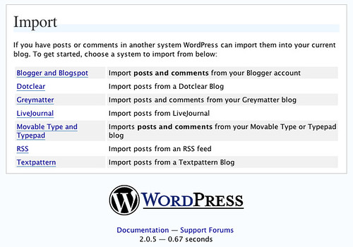 importation dans WordPress