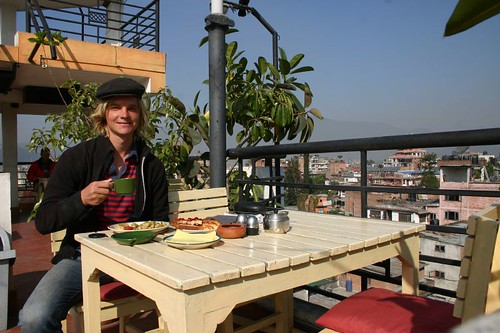 Enjoying a western breakfast on one of Kathmandus roof top restaurants...La Vie Douce!
