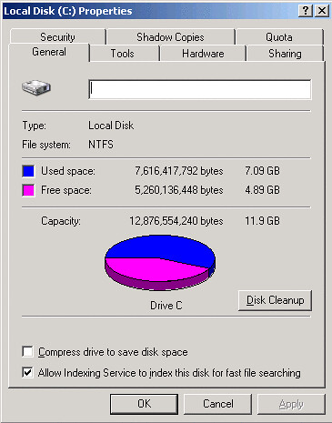 Disk Properties showing free space