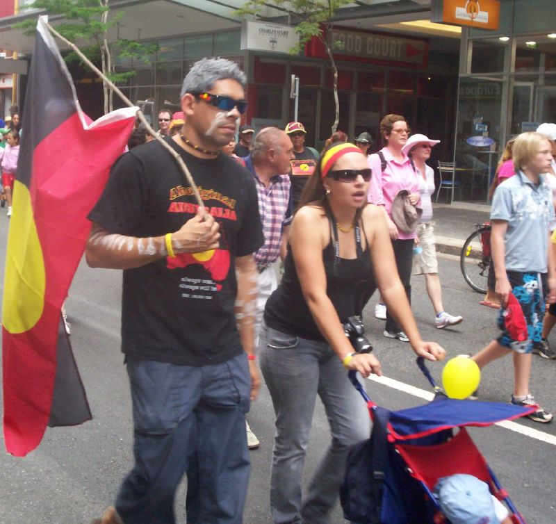 Marchers outside Charlotte St carpark - Justice for Mulrunji Rally at Queens Park and March through Brisbane City, Australia, November 18 2006