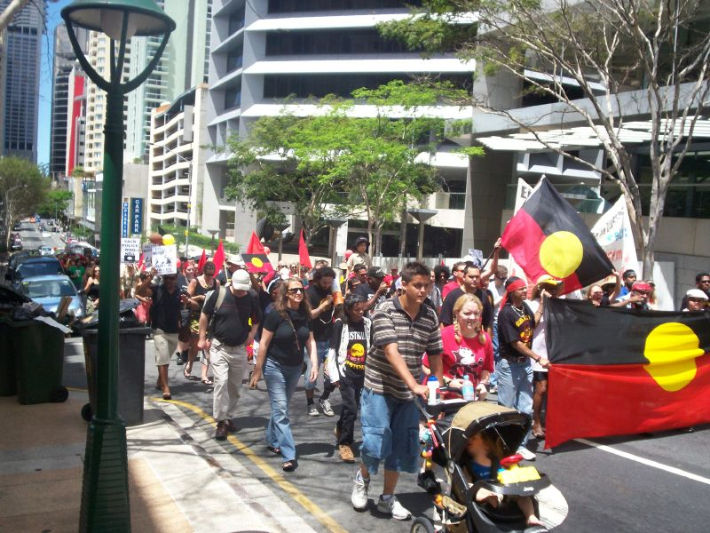 Van of the march approaches Archives Bookshop (out of frame on the left of the picture), Charlotte St - Justice for Mulrunji Rally at Queens Park and March through Brisbane City, Australia, November 18 2006