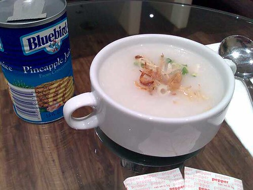 Chicken porridge plus pineapple juice in one of those cans with the sticker tabs