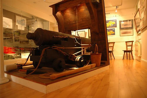 A fully conserved gun from the wreck in the Alderney Museum.  The carriage and other wooden features are modern reconstructions