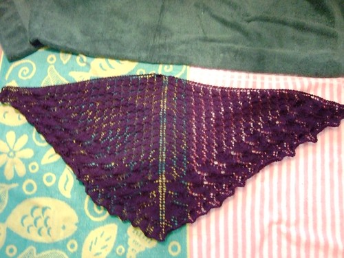 Swallowtail Lace Shawl Pre-Blocking