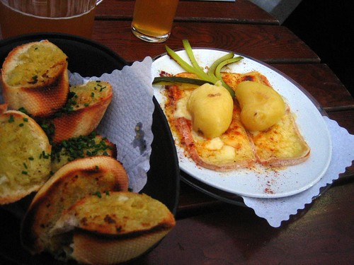 Raclette with exotic-sounding Knoblauchbrot... garlic bread.