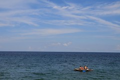sea, sky, bamboo, raft, beach, batangas, philippines
