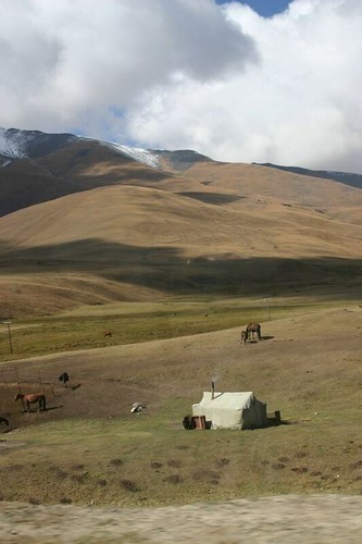 Isolated yurt in central Kyrgyzstan...