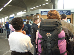 looooooong line to buy train tickets