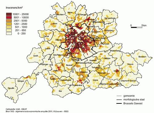 Kaart Brussel: bevolking per gemeente