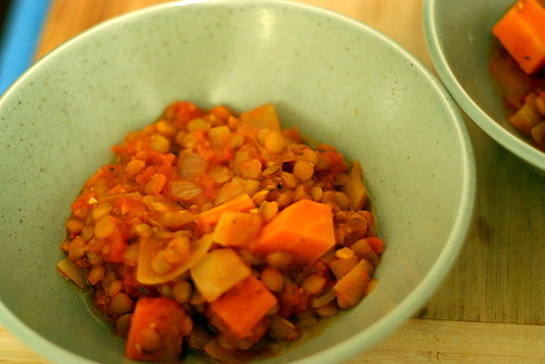 stewed lentils and tomatoes