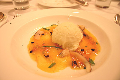 Mango Carpaccio with Lime Ice Cream
