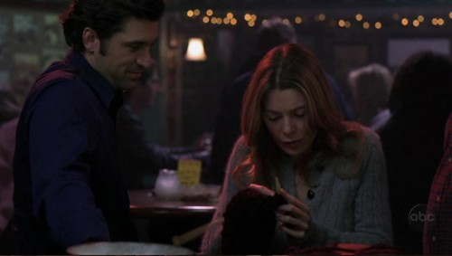 McDreamy and Meredith as she knits in a bar