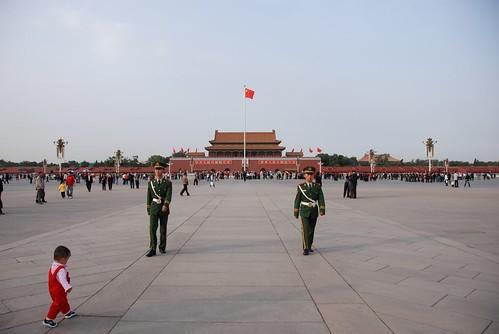 Child & Militaries On Tian An Men Square