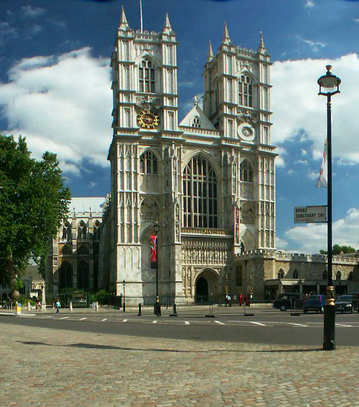 Front of Westminster Abbey in London